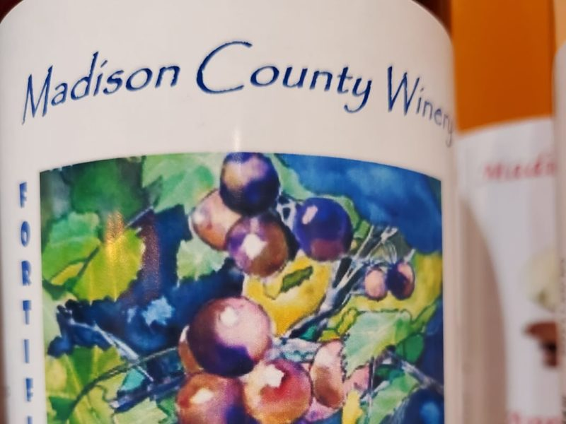 Bottles of wine at Madison County Winery in Markleville, Indiana
