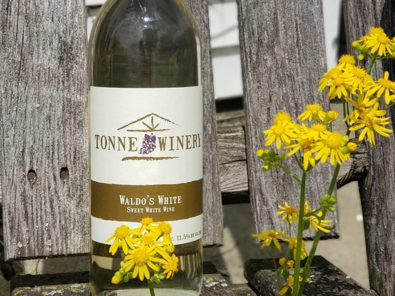 Bottle of wine at Tonne Winery in Muncie, Indiana