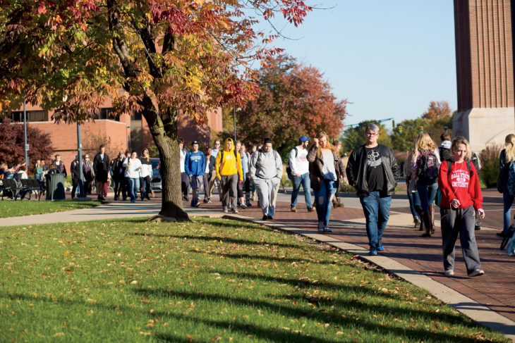 Students walk on the campus of Ball State University in Muncie, Indiana
