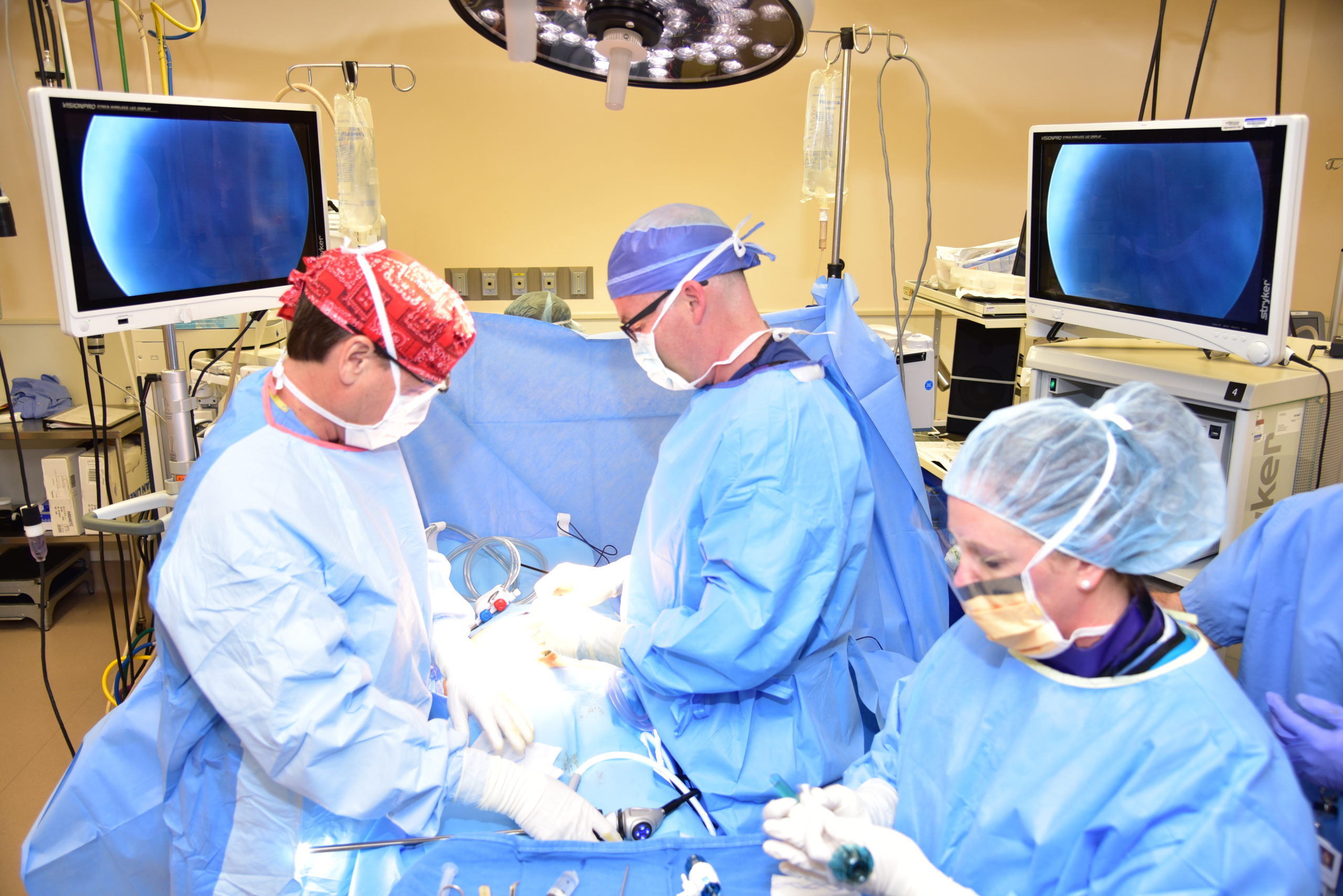 Doctors perform surgery on patient