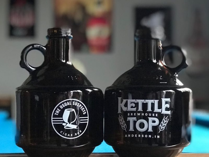 Growlers of beer at Kettle Top Brewhouse in Anderson, Indiana