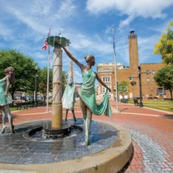 A sculpture of dancers in Dickman Town Center in downtown Anderson, Indiana