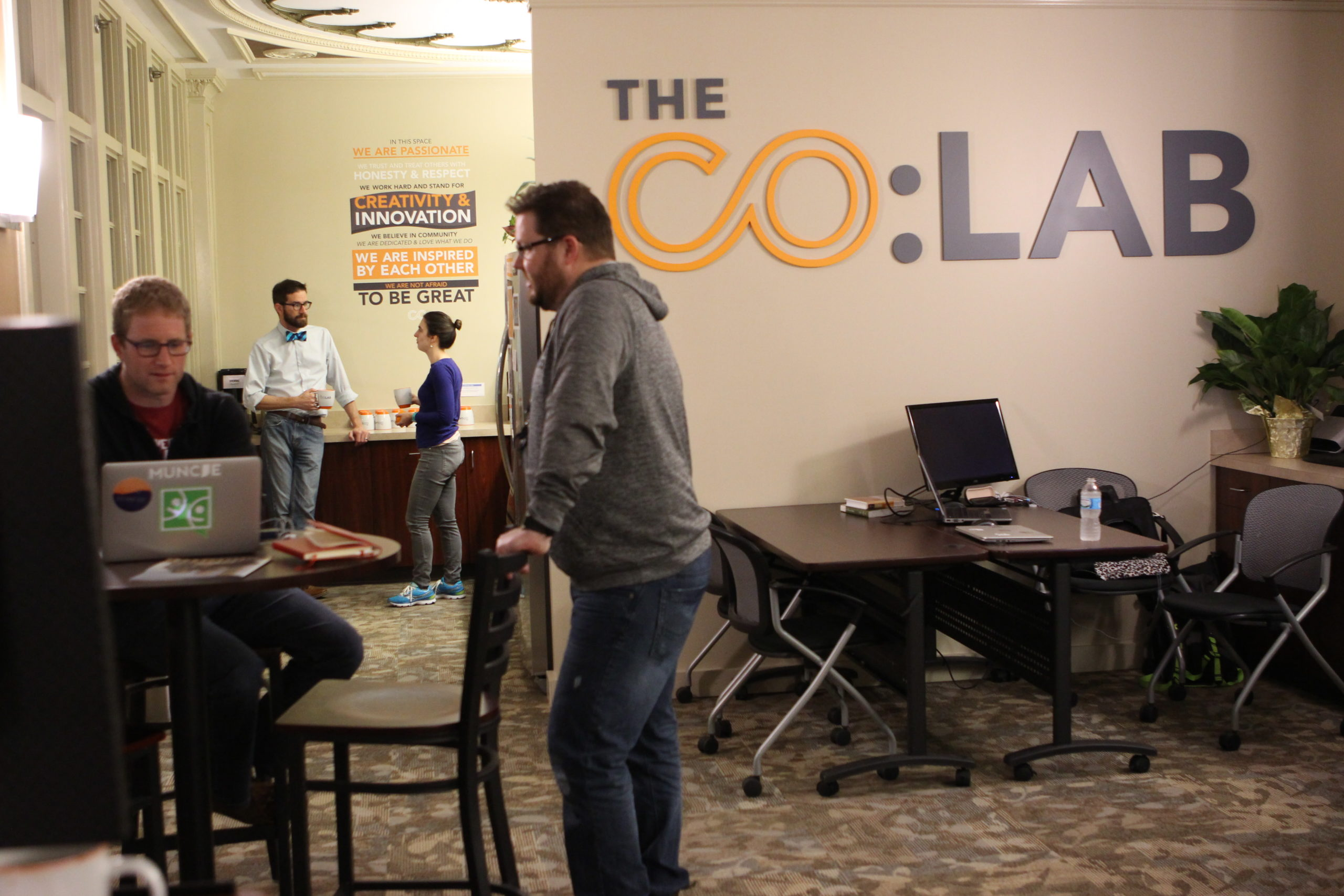 Entrepreneurs making connections at the Co Lab in muncie