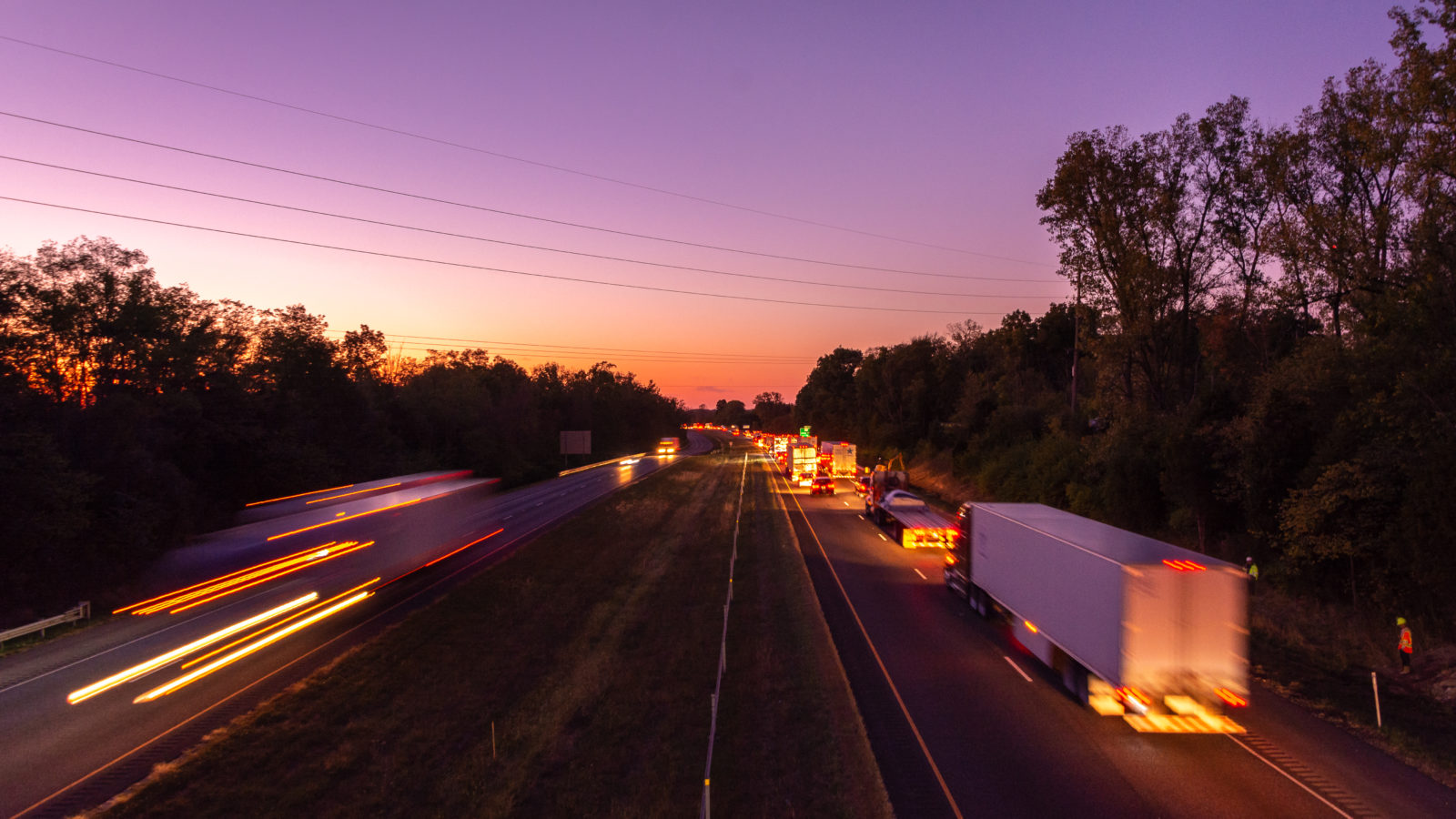 Traffic heading west at sunset on I-70 in East Central Indiana