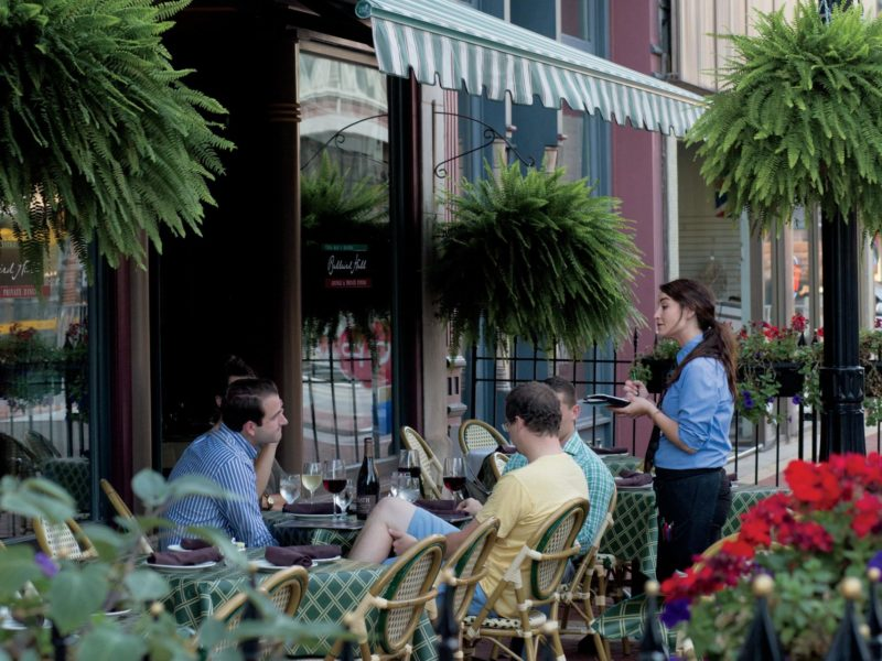 Customers dining outdoors at Vera Mae's in Muncie, Indiana