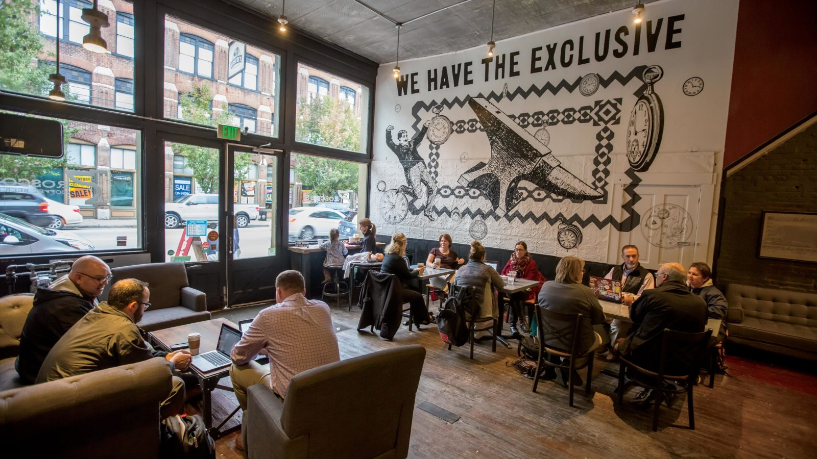 Customers fill Roscoe's Coffee Bar and Tap Room in the Depot District of downtown Richmond, Indiana