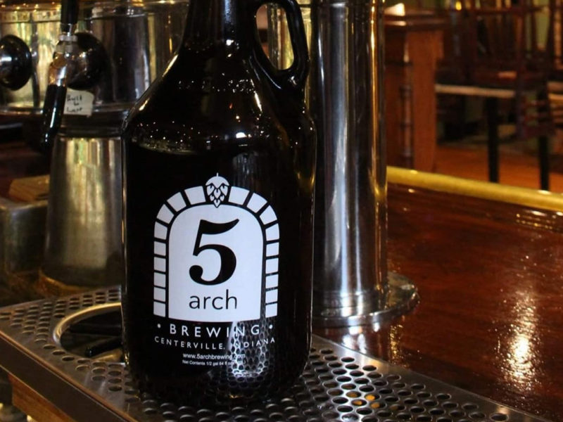 Growler of beer at 5 Arch Brewing Company in Centerville, Indiana