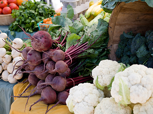 Cauliflower, beets and radishes at a local farmers market