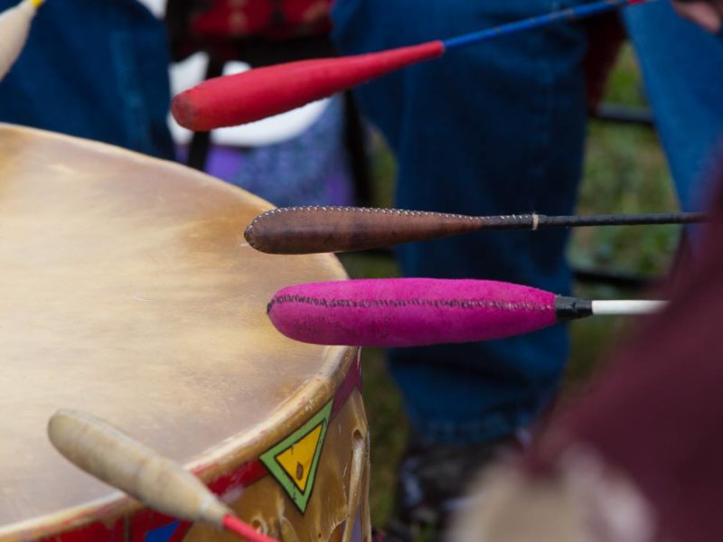 Closeup of musical drum at The Andersontown Powwow in Indiana