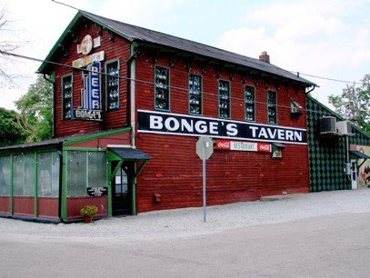 Outside of Bonge's Tavern in Perkinsville, Indiana