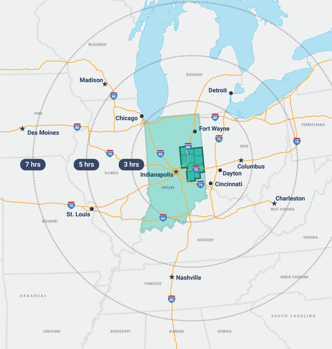 View of map showing drive times to major cities and states outside of East Central Indiana