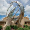The Catalyst sculpture stands in front of the Minnetrista Center Building at Minnetrista in Muncie, Indiana