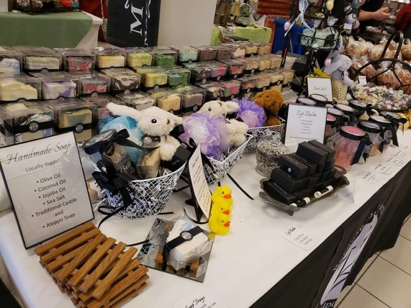 Table of handmade soap at Muncie Makers Market in East Central Indiana