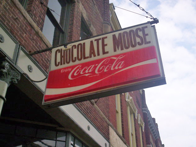 Outdoor signage at The Chocolate Moose in Farmland, Indiana