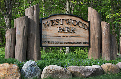 A sign entering Westwood Park Trail in East Central Indiana
