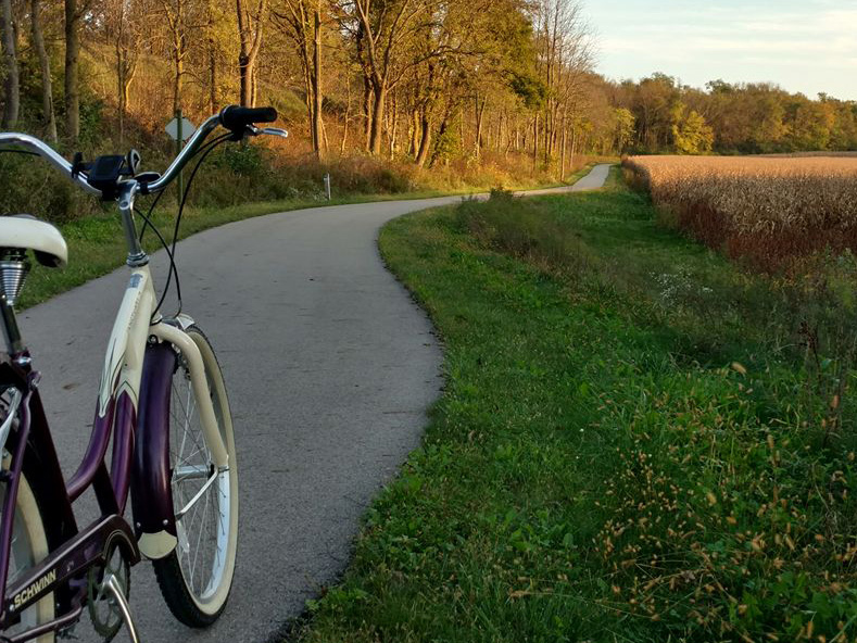 A bicycle on Wilbur Wright Trail in Henry County, Indiana