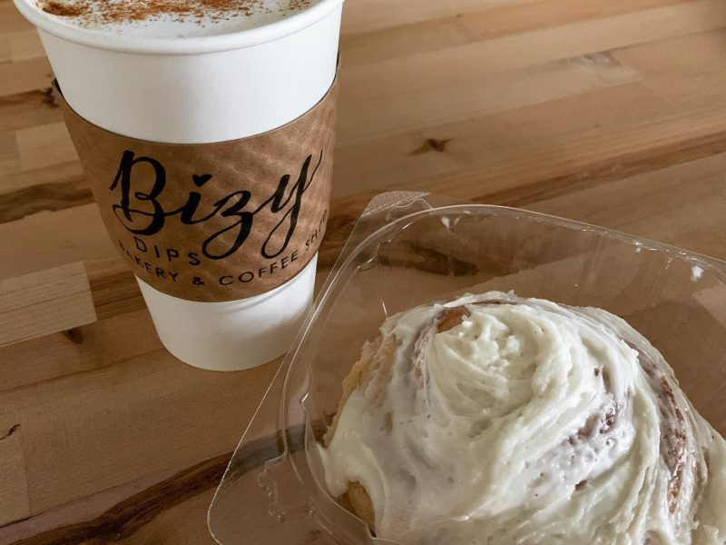 Cup of coffee from Bizy Dips Bakery & Coffee Shop