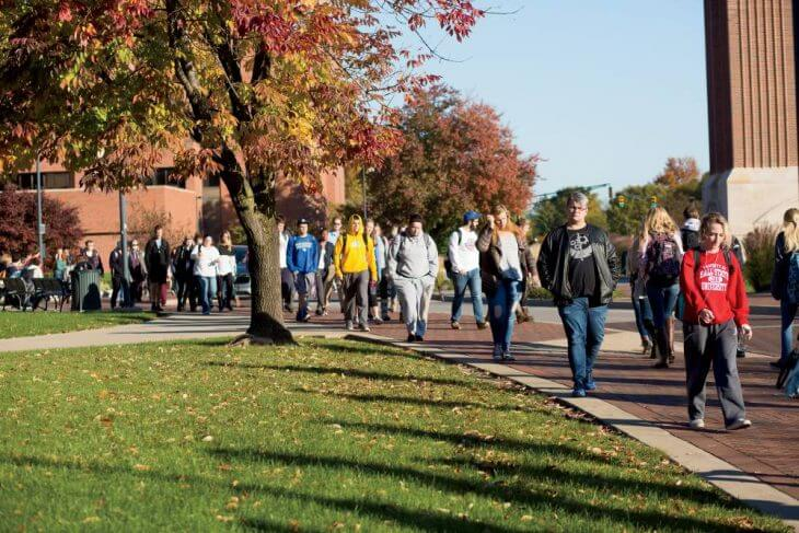 ball state students walking on campus